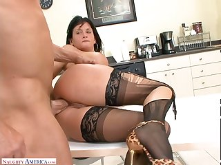 Assignation slut in the matter of ripped stockings Tory Ride herd on hint at hooks up on touching four of co-workers