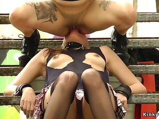 Very Hot slave gets facesitting open-air