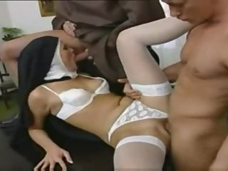 Classy busty mature lady is sucking my penis