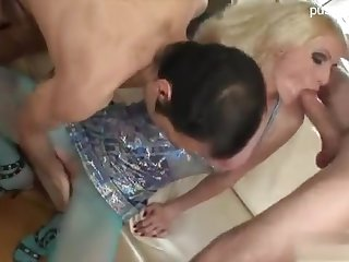 Blonde whore in pantyhose gets her extensive anal gape plugged with 2 cocks DP style