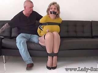 Mature chick, Dame Sonia was bound up, while her attachment was gripping her meaty milk cans