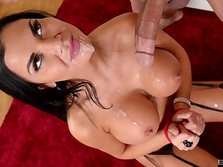 Jasmine Jae gets cum out of reach of her huge impersonate tits with her hands promised