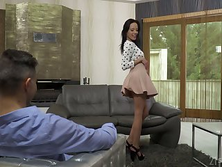 Leggy Hungarian chick in impolite skirt Lexi Layo takes a big dig up in her mouth with an increment of anus