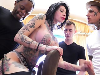 Interracial gangbang gets Megan Inky all troublesome with cum