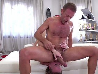 Rimjob and rough anal sex for a blonde whore on cam