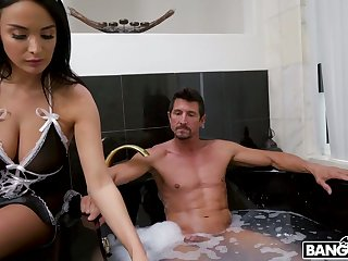 Delicacy huge breasted babe Anissa Kate gives BJ and enjoys some anal