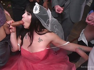 Chubby bride Siouxsie Q is fucked by horny groom and his best followers