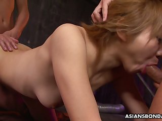 Chestnut haired slutty Jap nympho Rui Hazuki thirsts to be tied up