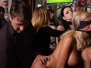 Busty blondes pissing on make an issue of street