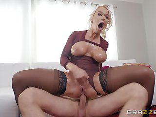 oiled London Geyser spreads her legs for a cock while she screams