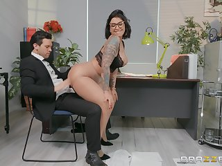 Sexy secretary Devon Lee enjoys sex with her colleague not far from her office