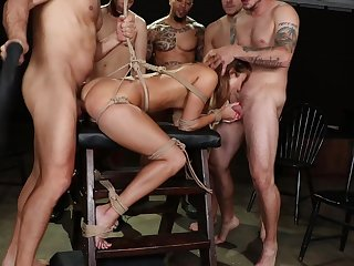 Bitch delights with nasty hardcore gang profitability porn