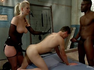 Interracial bisexual bosom increased by Cherry Torn regarding BDSM function