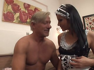 Still strong old dude is treated with a good blowjob by maid Abbie Cat