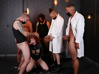 Hunks are sharing this ginger's pussy around merciless bandeau bang fetish
