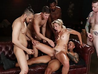 Shrunken blonde gets anal fucked in rough gang bang play