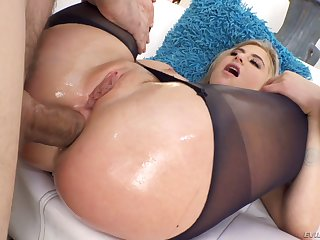 Sultry blondie Lindsey Cruz poses topless outdoors before gross anal fucked