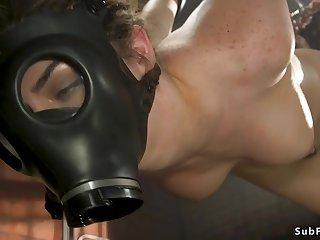 Darkhaired brutal butt fucking made love in bondage
