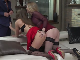Smoking hot lesbian babes are fucked and jizzed off out of one's mind hot blooded dude