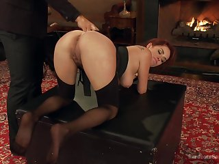 Obedient redhead bends ass for some brutal anal