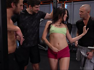 Kinky sporty chick with natural tits Verona Sky is ready for hardcore gang bang