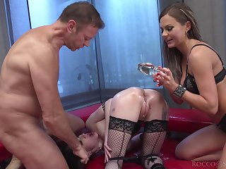 Two bodacious whores take on a enduring cock and these babes reverence anal dealings
