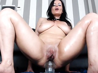 Pretty brunette loves anal play here toys and a big cock