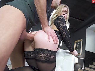 Astounding blonde parks this man's immense dong right up the ass