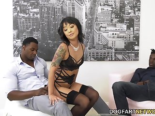 Korean babe Saya Song is fucked in anus increased apart from pussy apart from two big blacklist dudes
