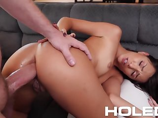 Brunet hottie Hime Marie is toying her butt hole before hardcore pounding