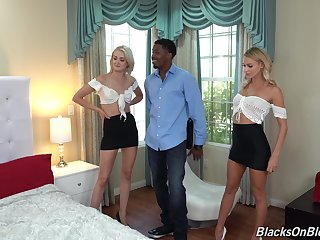 Anal loving spoil Emma Hix shares a black dick with Zoe Sparx