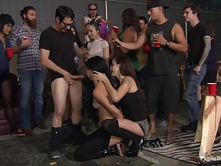Dapper Mandy Sky acting in amazing BDSM porn in public place