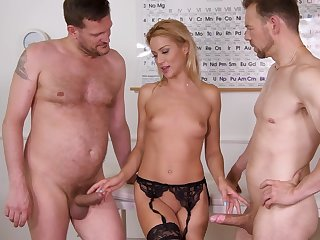 Anal whore fucks with the doctors concerning wild threesome