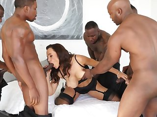 Luxurious cougar nicely gangbanged off out of one's mind five Ebony stallions