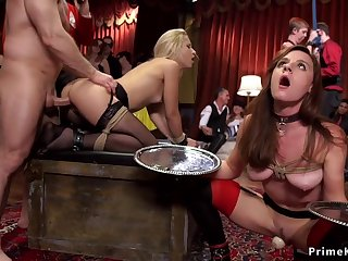 Slaves serving together with butt sex making carry the at party