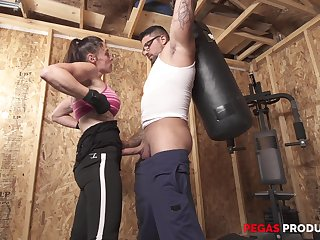 Sporty busty brunette Tanya gets a hardcore fuck at one's disposal the gym