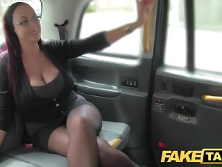 Fake Cab Secretary looking lady with huge tits and wet kisser