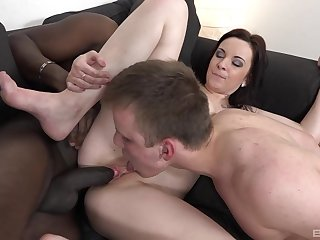 Lenna's cuckold licks will not hear of pussy while she gets fucked by a black stud